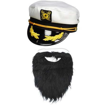 Funny Captain White Hat Black Beard Yacht Distinct Meme Cosplay Adult Costume Set
