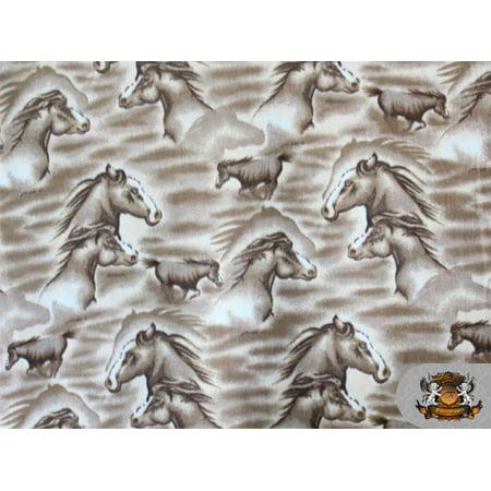 Fleece Printed Horse *MOCHA Horse* Fabric
