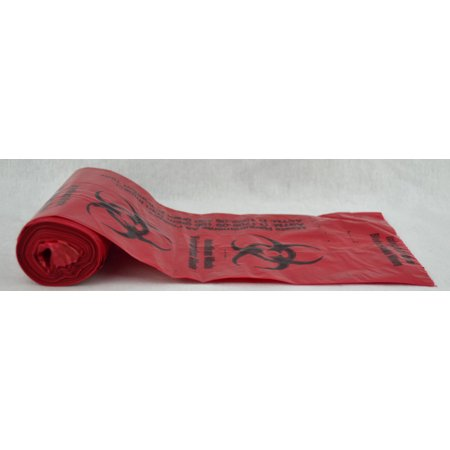 Biohazard Bags, 1 Gallon, Red w/Black Print-Pack of