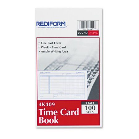 Rediform Time Card - Rediform 4K409 Employee Time Card  Weekly  4-1/4 x 7  100 per Pad