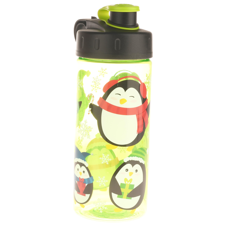 Cool Gear, Winter Penguins, 16 Fl oz Flip Top Beverage Bottle