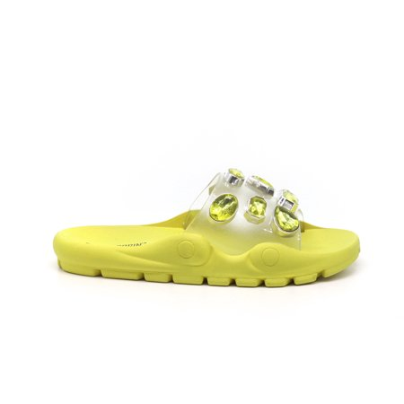 Cape Robbin Treasure Map Lime Jeweled Clear Vamp Super Comfortable Slide Sandals 03 Jeweled Sandals
