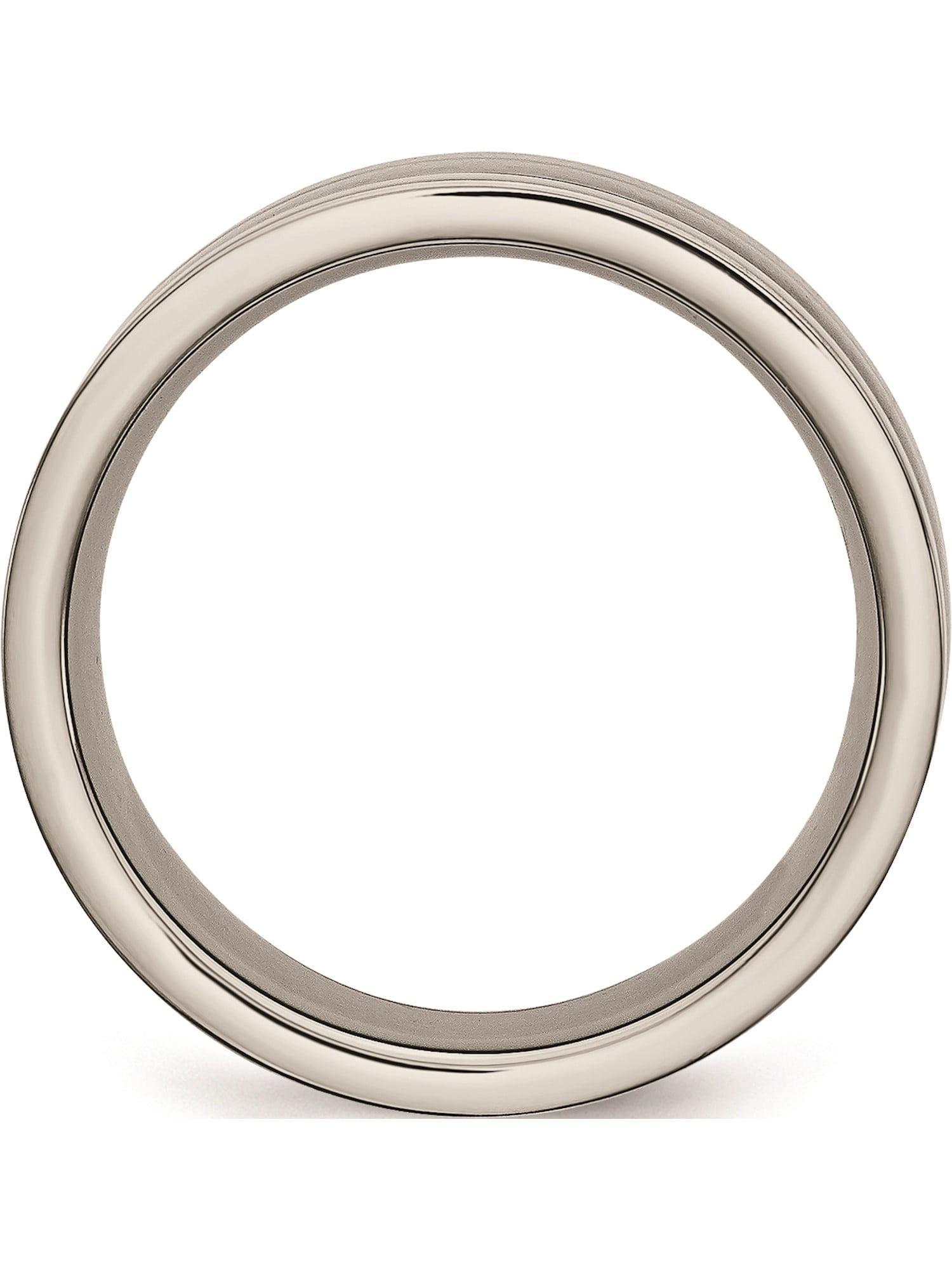 Best Quality Free Gift Box Titanium /& Grey Carbon Fiber 8mm Polished Band