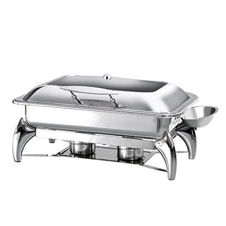 Prosto Ware PWI-625 Glass Top Full Size Chafing Dish 8 Qt with Stand, Stainless Steel Chafer for Catering