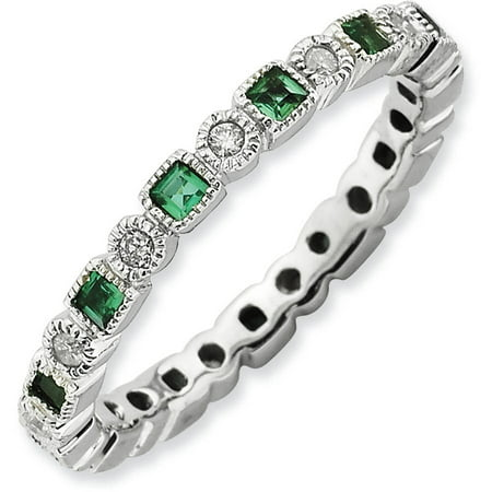 Created Emerald Ring (Created Emerald and Diamond Sterling Silver Polished Ring)