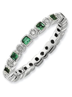 Created Emerald and Diamond Sterling Silver Polished Ring