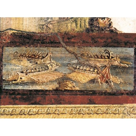 Empire Art Collection - Italy Pompeii House Of The Vettii Detail With Warships First Century AD Roman Art Early Empire Painting Fresco  AisaEverett Collection Poster Print