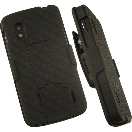 NAKEDCELLPHONE'S BLACK KICKSTAND HARD CASE COVER + BELT CLIP HOLSTER STAND FOR LG GOOGLE NEXUS 4 PHONE ((aka LG MAKO or LG OPTIMUS NEXUS) T-MOBILE, UNLOCKED) ()