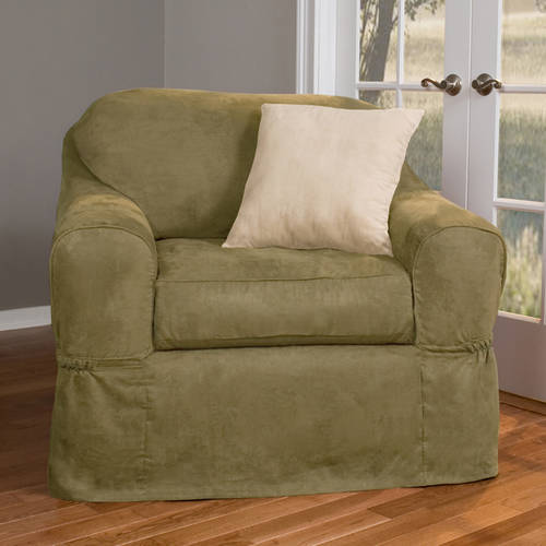 Maytex piped faux suede non stretch 2 piece chair for Suede slipcovers