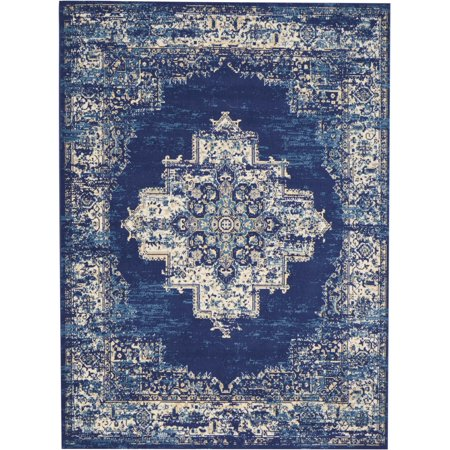 Navy Blue Center Medallion Persian Area Rug by Desert Fields (Sonnenbrille Desert)