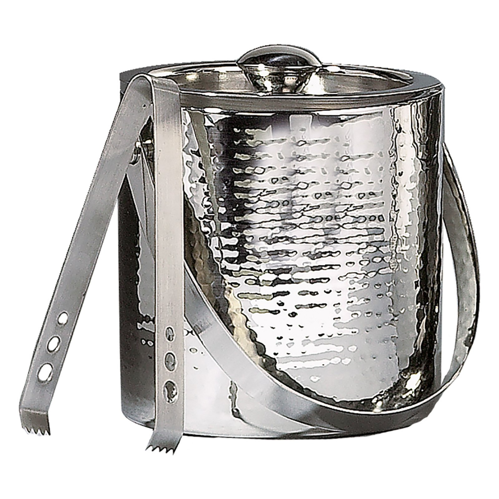 Leeber Contemporary Double Wall Ice Bucket with Lid and Tongs