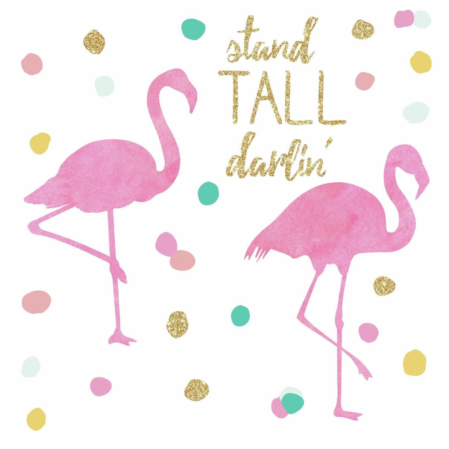 Stand Tall Flamingo Peel And Stick Wall Decals With Glitter
