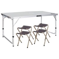 REDCAMP 4' Ajustable Folding Table with 4 chairs, Centerfold Alumimum Portable Camping Table for Ourdoor or Indoor Use, White 4'x2'