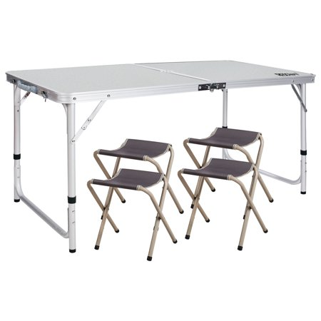 Redcamp 4 Ajustable Folding Table With 4 Chairs Centerfold Alumimum Portable Camping Table For Ourdoor Or Indoor Use White 4 X2