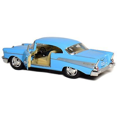 "5"" Kinsmart 1957 Chevrolet Bel Air Diecast Model Toy Car 1:40 Chevy Blue"