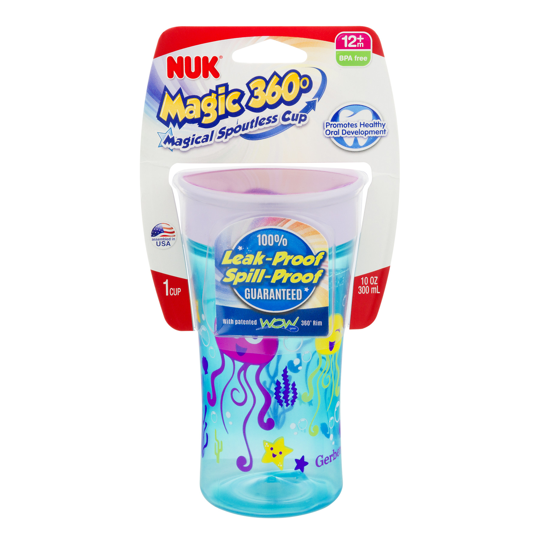 NUK Magic 360° Magical Spoutless Cup 12+m - 1 CT1.0 CT (Color may vary)