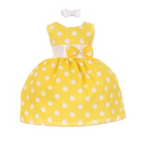 Baby Girls Yellow White Polka Dot Bow Sash Headband Special Occasion Dress 6M