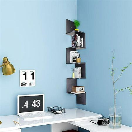 5 Tiers Wood Wall Mount Corner Shelves, Zig Zag Wall Mount Shelf Storage Bookshelf Home Decor (Black) ()