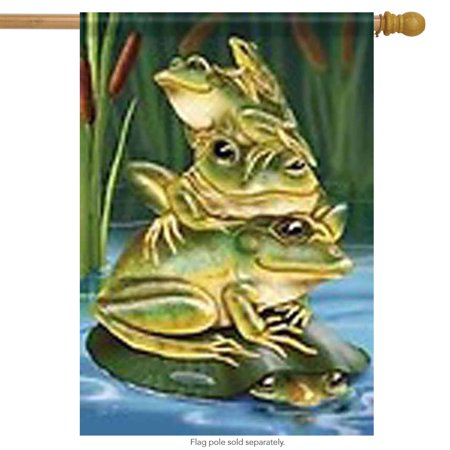 "Frog Stack Summer House Flag Humorous Pond Frog Family Yard Banner 28"" x 40"""