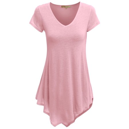 Doublju Womens Short Sleeve V-Neck Tunic Top With Handkerchief Hem