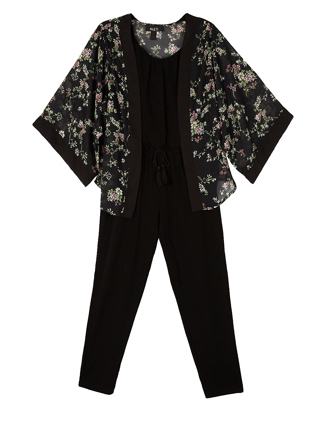 Girl's Two-Piece Jumpsuit & Woven Kimono