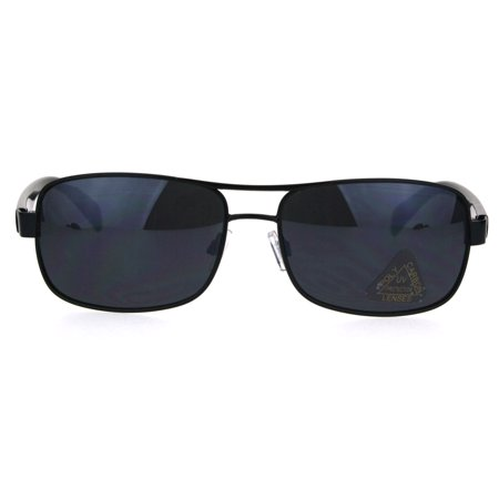 Classic Mens Rectangular Agent Officer Style Sport Metal Rim Sunglasses All Black