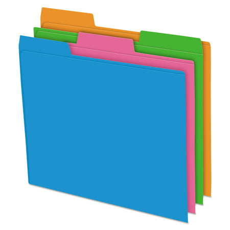 Pendaflex Glow Poly File Folders, 1/3 Cut Top Tab, Letter, Assorted Colors, 12/Pack