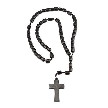 Wooden Rosary Necklace With Cross Crucifix, 10mm Black Wood Beads - 21 Inch Color Wooden Rosary Wood
