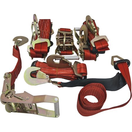 4 Axle Straps Car Carrier Tie Down Straps with Ratchets Tow Straps - Red Car Tie Down Straps
