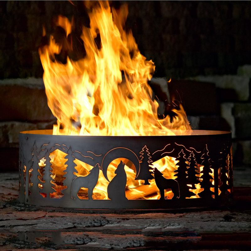P & D Metal Works WR004 Wolves Ring Fire Pit