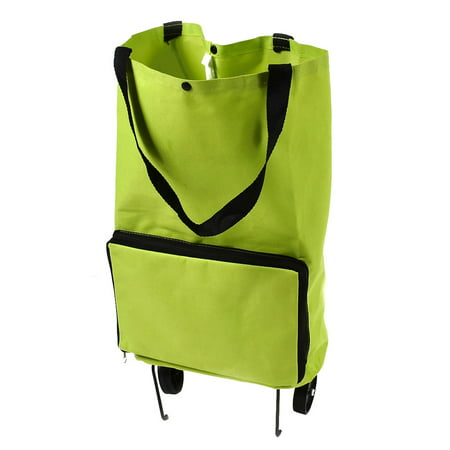 Unique Bargains Polyester Portable Handy Foldable Bag Wheel Cart Shopping Trolley Green