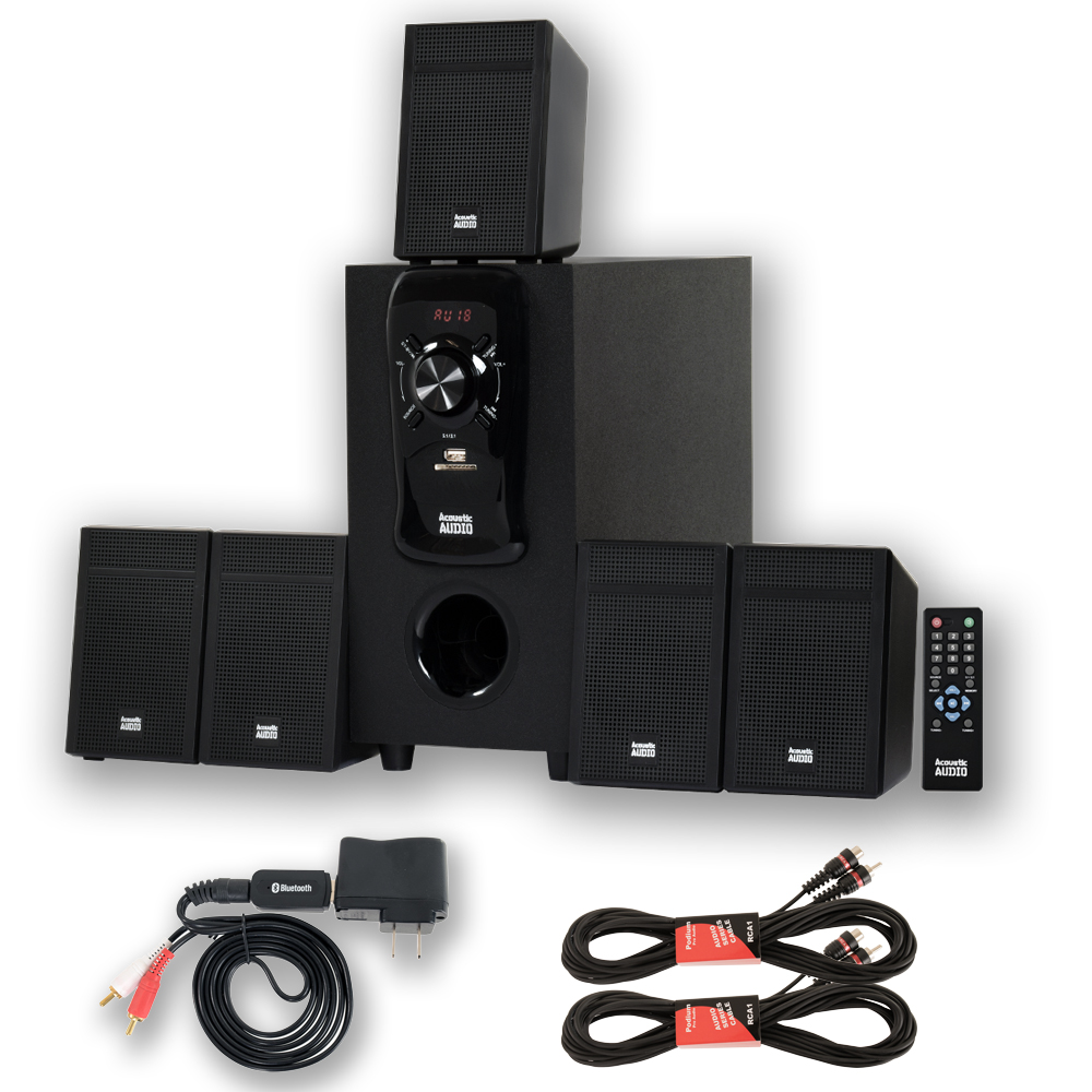 Acoustic Audio By Goldwood Acoustic Audio Aa 5150 Home Theater 5.1 Speaker System With Bluetooth Usb  /  Sd And 2 Extension Cables