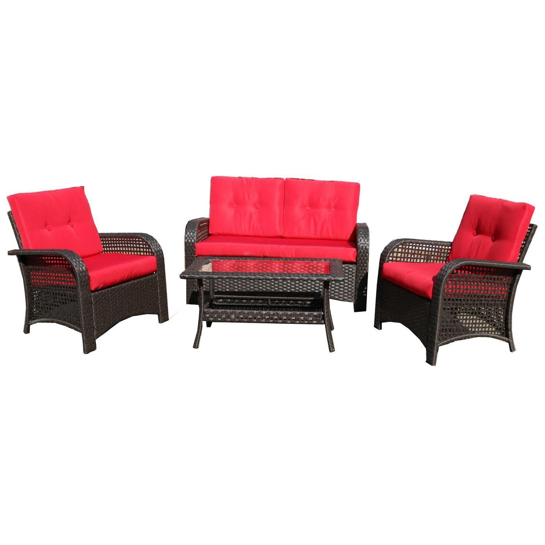 extraordinary outdoor wicker patio furniture sets | 4-Piece Brown Resin Wicker Outdoor Patio Furniture Set ...