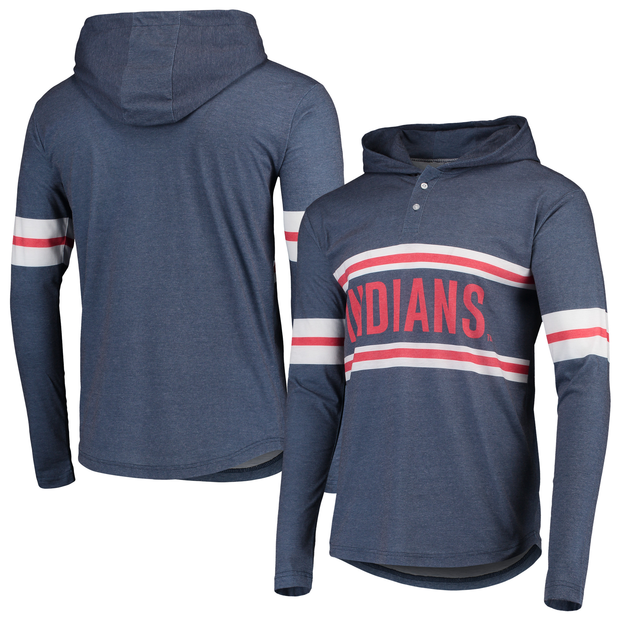 Cleveland Indians Henley Pullover Hoodie - Heathered Navy