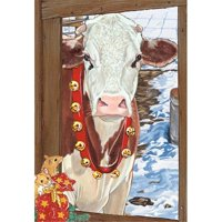 Pipsqueak Productions C603 Cow Brown Holiday Farm Christmas Boxed Cards - Pack of 10