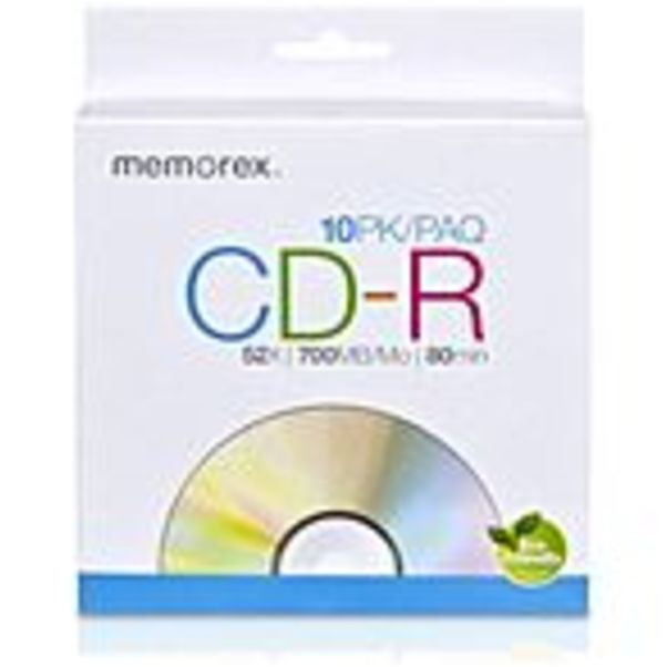 Memorex CD Recordable Media - CD-R - 52x - 700 MB - 10 Pack Paper Sleeve - 120mm - 1.33 Hour Maximum Recording Time