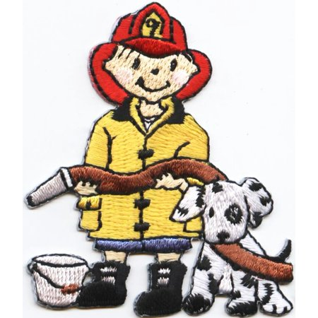 Fire Fighter - Boy with Dog - Iron on Applique/Embroidered Patch ()