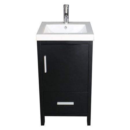 Black Vanity Cabinet - US Modern Bathroom Vanity Cabinet Wood with Top Basin Vessel Sink Faucet Combo