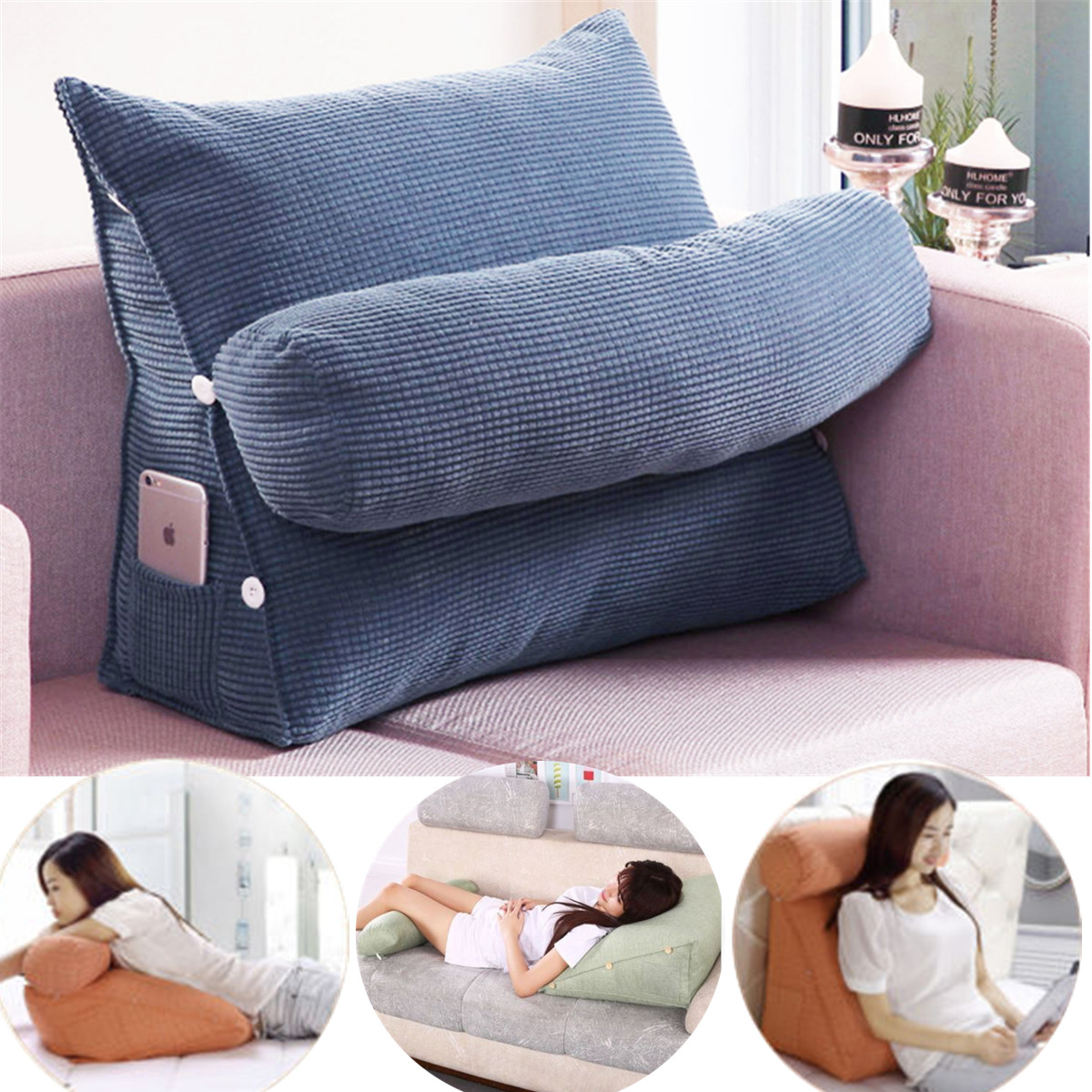 Adjustable Back Wedge Cushion Pillow Sofa Bed Office Chair Rest Waist Neck Support Best Gift