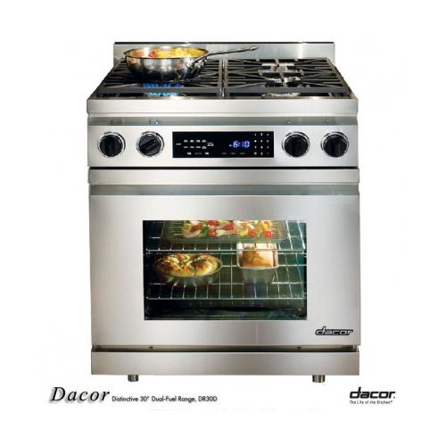 Dacor Distinctive DR30DI/LP/H - Range - built-in - niche - width: 30 in - depth: 20.7 in - height: 35.4 in - with self-cleaning - stainless steel