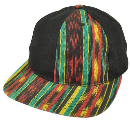 Black Rasta Colors Pattern Blank Plain Hat Cap Snapback Flat Bill Rastafarian - Plain Birthday Hats