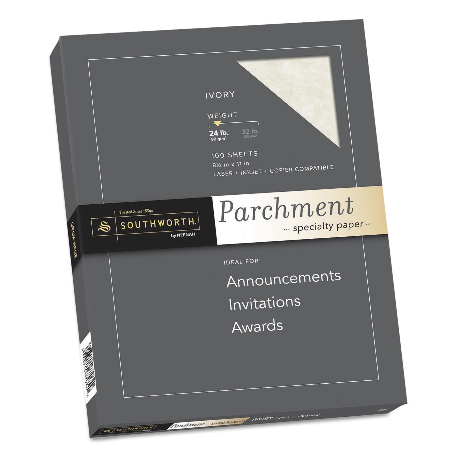 Southworth Parchment Specialty Paper, Ivory, 24lb, 8 1/2 x 11, 100 Sheets -SOUP984CK336