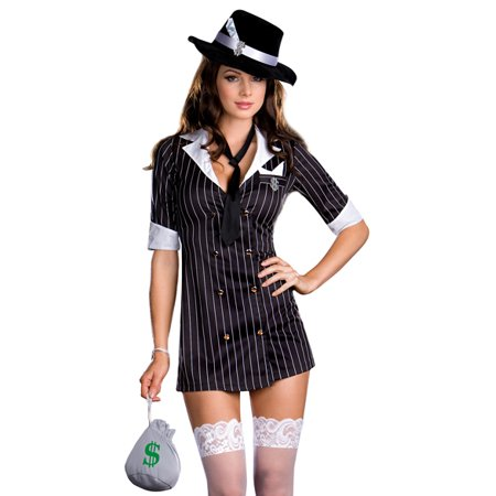 Dreamgirl Sexy Gangster Girl Dress Adult Halloween Costume - Halloween Gangsta Costumes