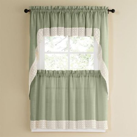 Sweet Home Collection Sage Country Style Curtain Parts with ...