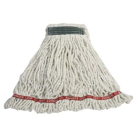 Large Web Foot Shrinkless Mop (Rubbermaid Commercial Swinger Loop Cotton/Synthetic Shrinkless Mop Heads, Medium, White, 6 count)