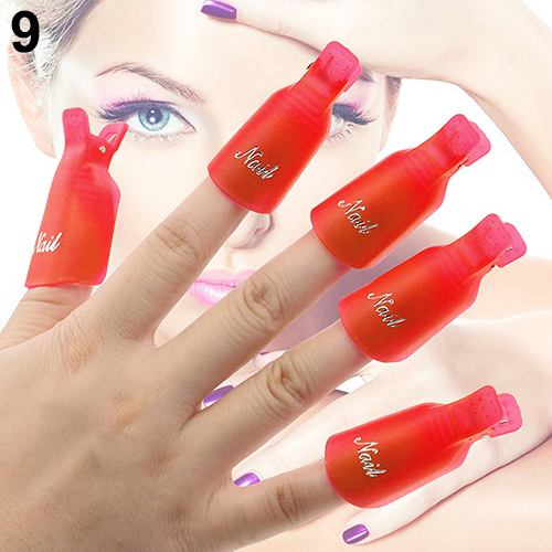 10Pcs Plastic Acrylic Nail Art Soak Off Clip Cap UV Gel Polish Remover Wrap Tool