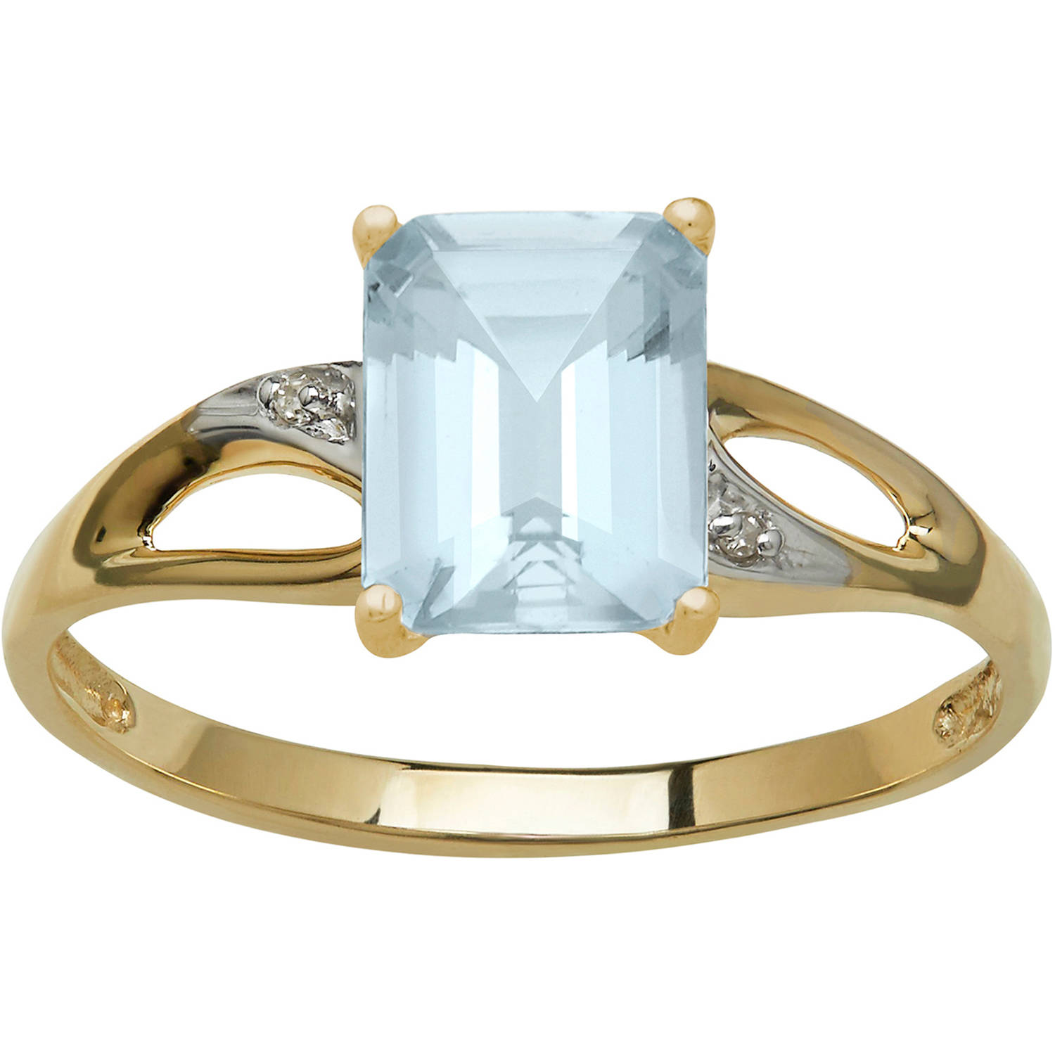Simply Gold Gemstone 7x5mm Emerald-Cut Aquamarine with Diamond Accent 10kt Yellow Gold Ring, Size 7