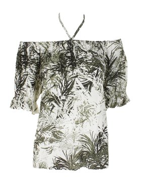 868f741fdc857f Product Image Sanctuary Green Palm Printed Off-The-Shoulder Blouse M