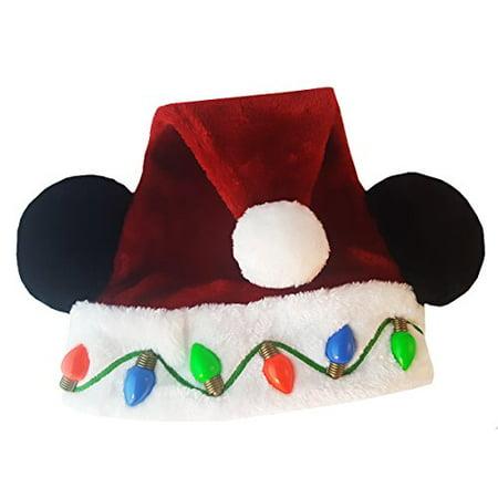 mickey mouse disney parks santa mickey ears christmas light up holiday hat