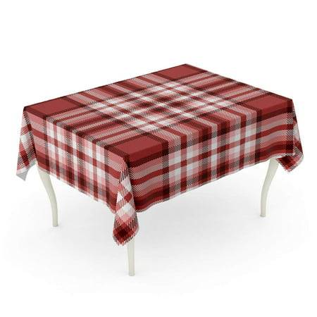 SIDONKU Border Tartan Plaid Printing Pattern Checkered in Stripes of Dark Moderate Red Pink Whi Tablecloth Table Desk Cover Home Party Decor 60x84 inch